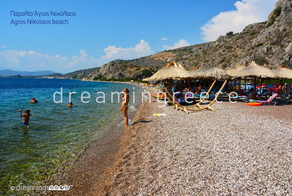 Agios Nikolaos beach. Beaches in Nafplio Greece.