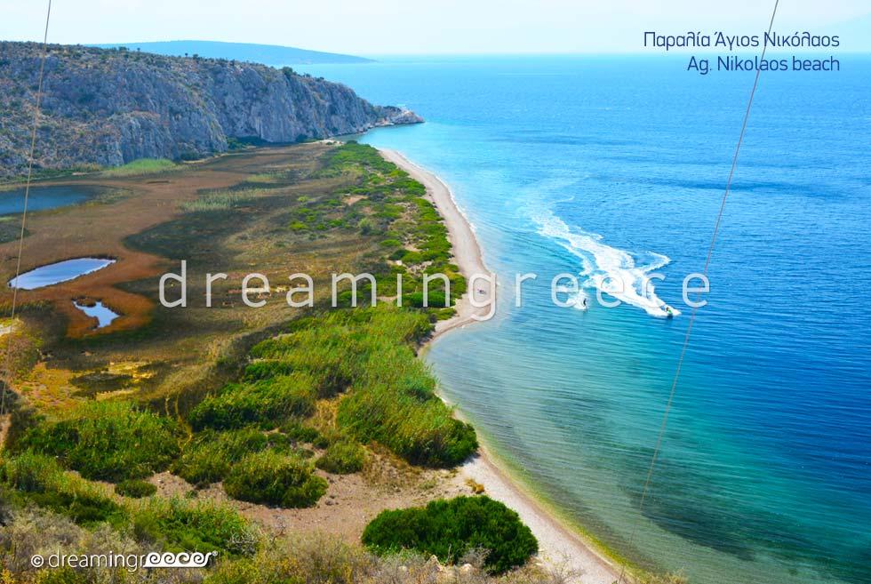 Agios Nikolaos beach. Beaches in Nafplio Greece.
