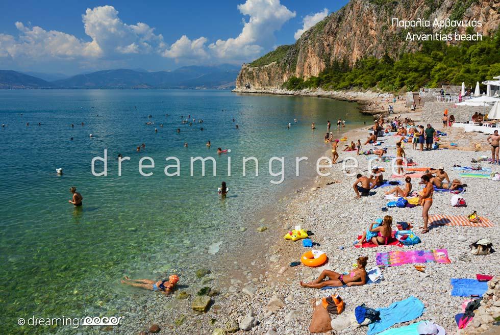 Arvanitias beach. Beaches in Nafplio Greece.