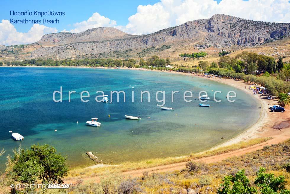 Karathonas beach. Beaches in Nafplio Greece.