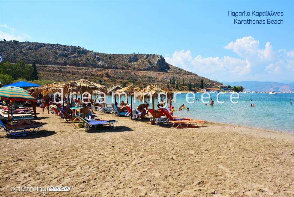 Karathonas beach. Beaches in Nafplio Greece.