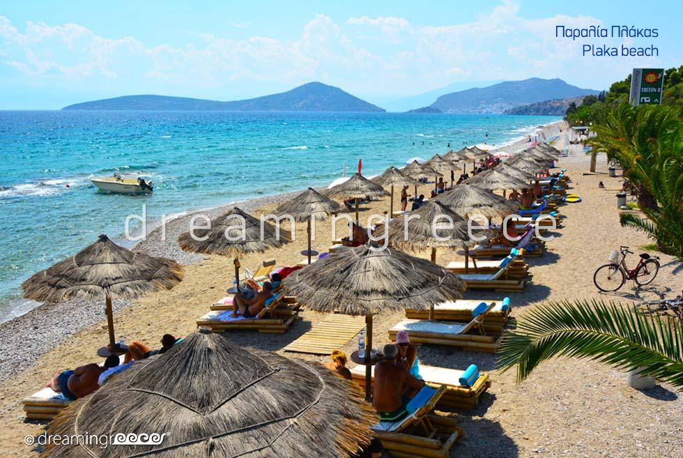 Plaka beach. Beaches in Nafplio Greece.
