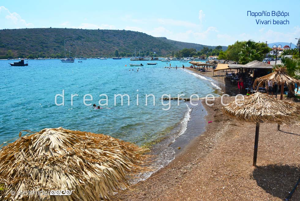 Vivari beach. Beaches in Nafplio Greece.