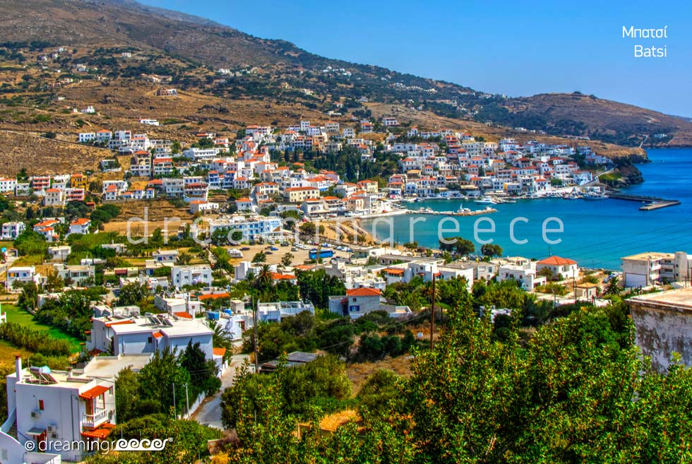 Batsi Andros island. Travel guide of Greece Cyclades islands