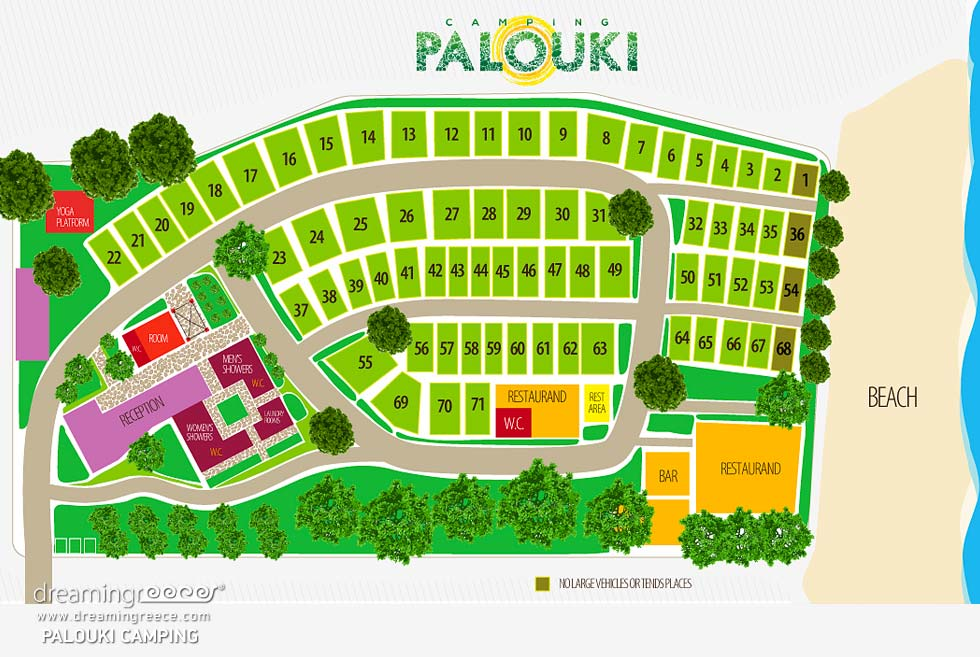 Map Camping Palouki in Amaliada. Camping in Greece. Camping Peloponnese.