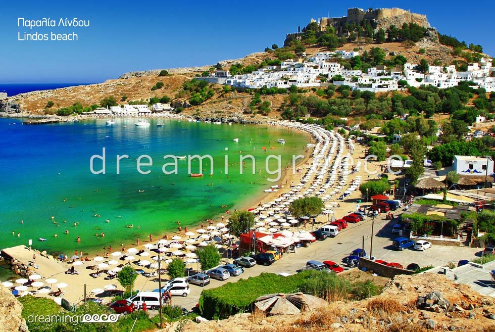 Lindos beach. Rhodes Beaches. Vacations in Rhodes Greece. Greek islands.