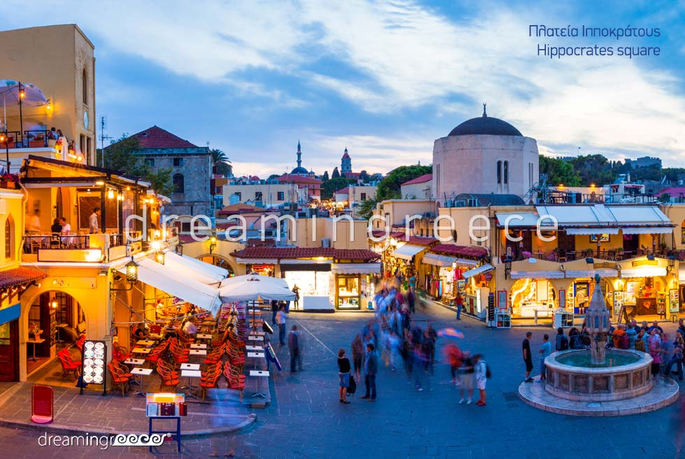Hippocrates Square Rhodes island Dodecanese Greece