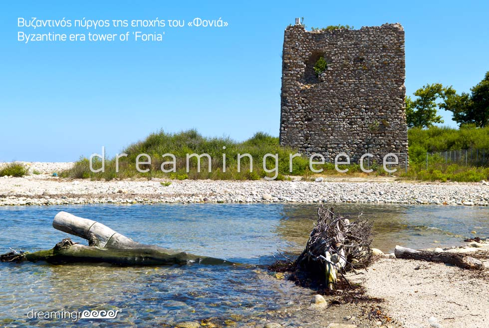 Explore Byzantine era tower of Fonia Samothrace island Greece