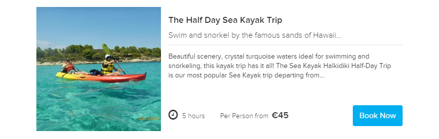 Sea Kayak Halkidiki Half day trip Book now