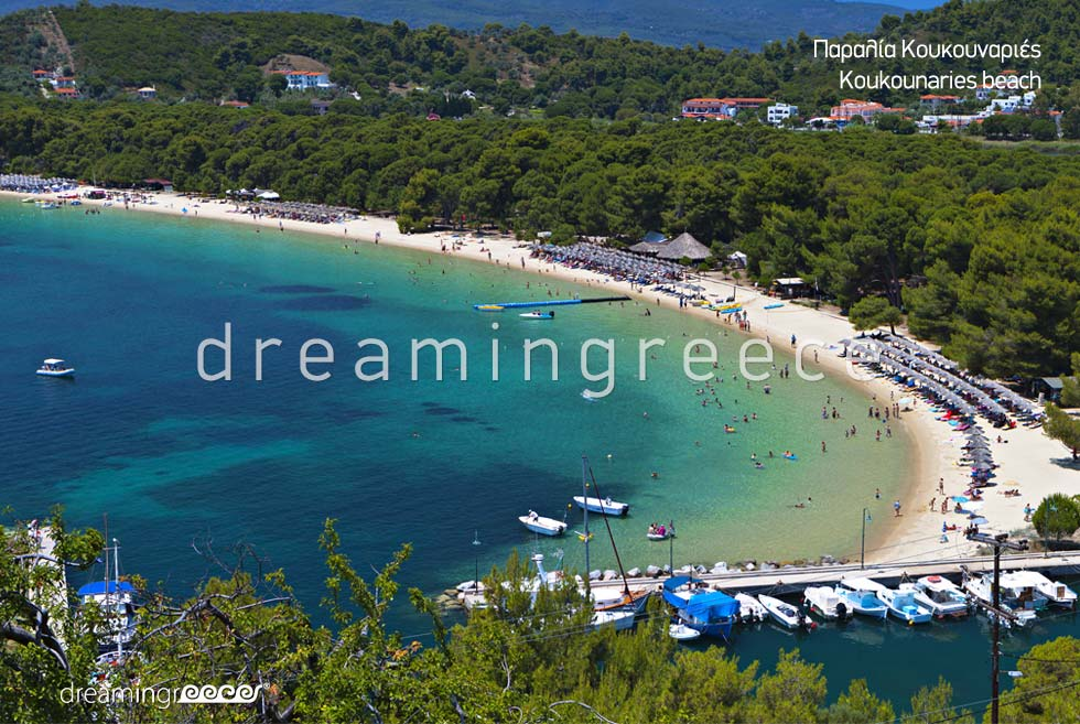 Summer Vacations Koukounaries beach in skiathos island Greece