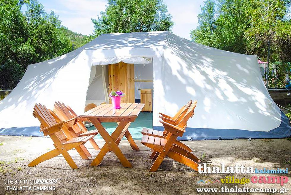 Tents Thalatta Kalamitsi Camping. Travel Guide of Halkidiki