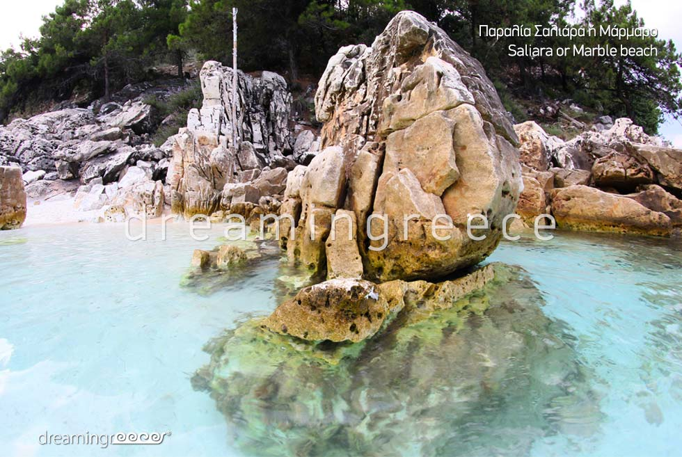 Saliara Marble beach in Thassos island Greece