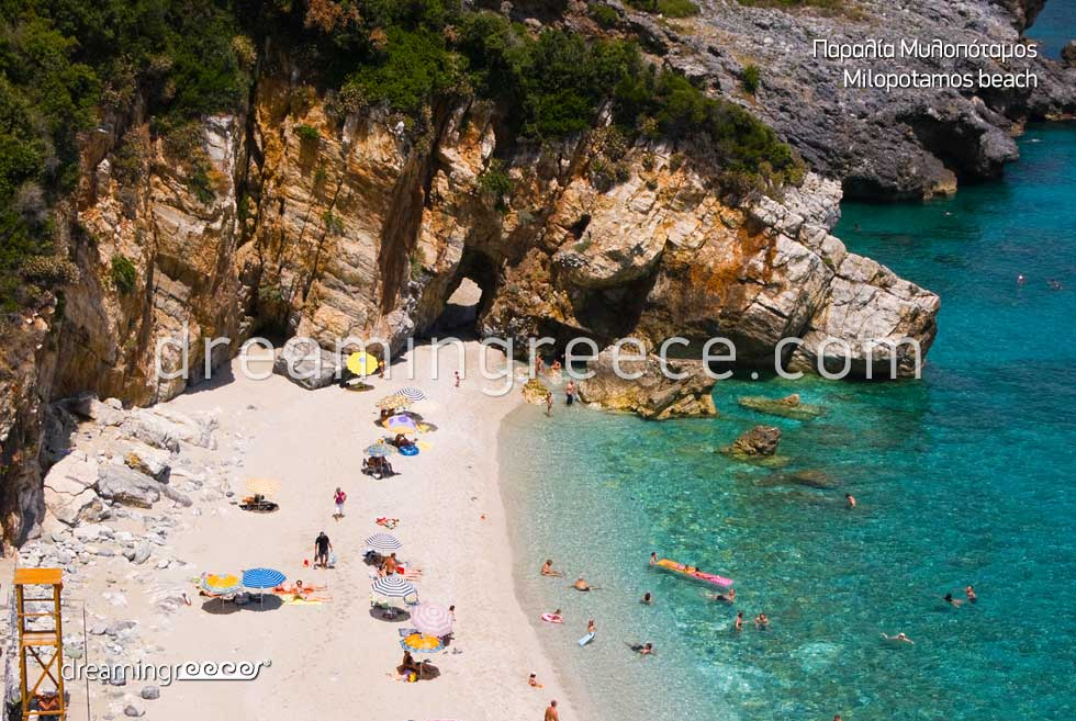 Milopotamos beach in Pelion Beaches in Greece. Holidays Pelion Greek Travel.