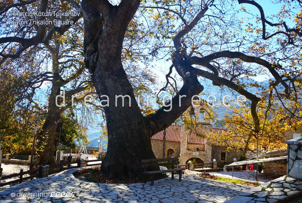 Kato Trikalon Square Trikala of Corinth Peloponnese Greece