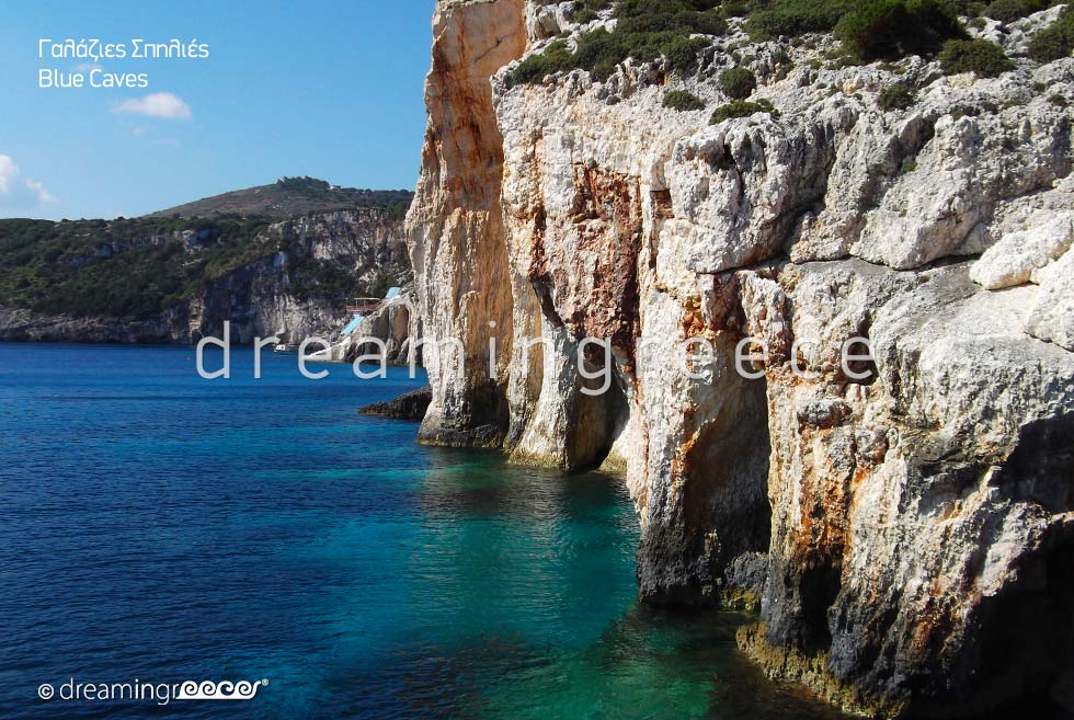 Travel Guide of Zakynthos Zante island Greece. Blue Caves. Vacations Greece.