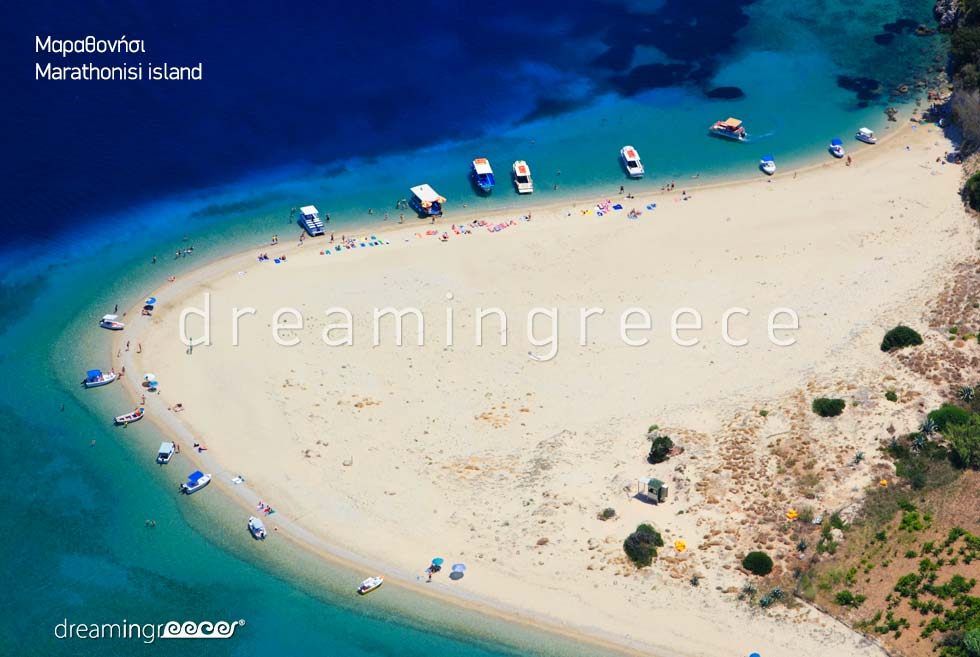 Marathonisi island. Holidays Greek islands. Zakynthos island Greece Beaches.