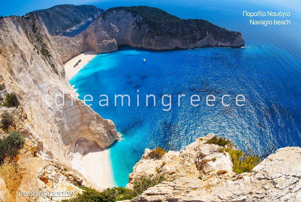 Holidays Greek islands. Zakynthos Zante island Greece Beaches. Navagio beach.