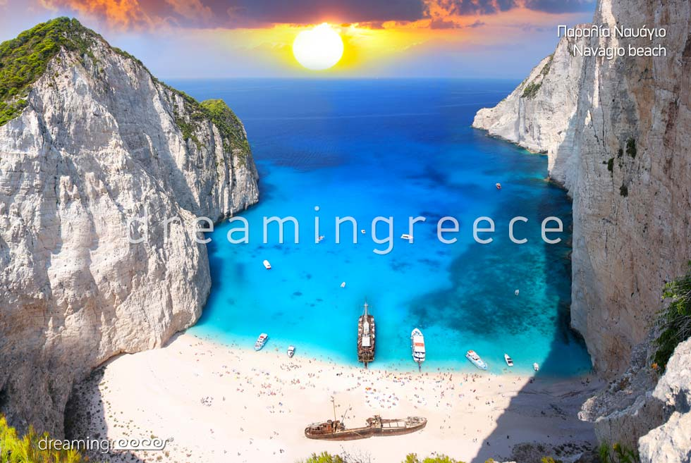 Vacations Greek islands. Zakynthos Zante island Greece Beaches. Navagio beach.