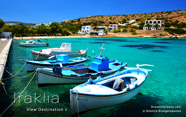Summer Holidays Greek islands Greece. Iraklia island Greece.