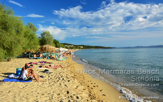 Vacations Greece Travel. Neos Marmaras beach in Halkidiki Greece.