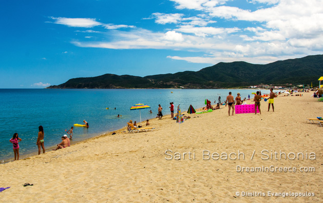 Vacations Greece Travel. Sarti beach in Halkidiki Greece.