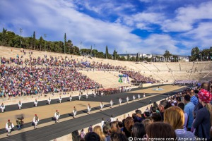 Handover Ceremony for the Olympic Flame at the Panathenaic Stadium Athens Greece