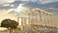 Temple of Poseidon at Sounio. Travel Guide of Greece.
